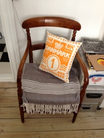 Our Denmark stamp cushion, in my Grandpa's chair