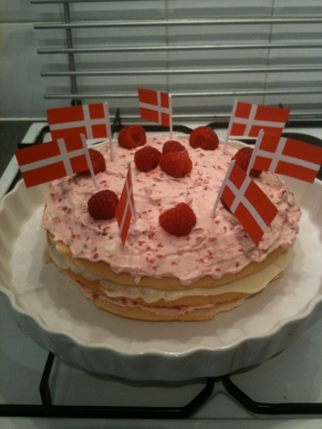 Danish birthday cake, with obligatory Danish flags (seen at all celebrations here!)