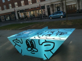 One of many outdoor ping pong tables dotted around the city