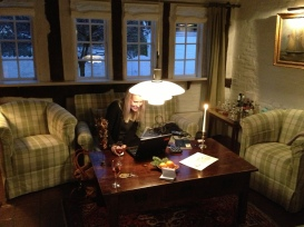Dorte finishing Friday work off in our room