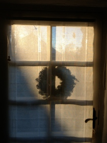 Christmas wreath on our front door