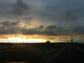 Sunset on the bridge to Fyn