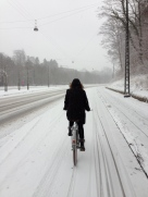 Dorte cycling in the snow