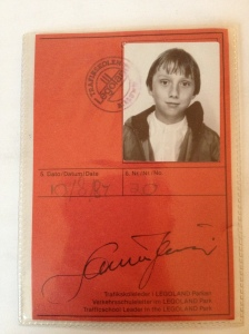 The front of my Legoland driving licence