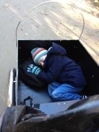 Nephew Daniel asleep in my hired Christiania