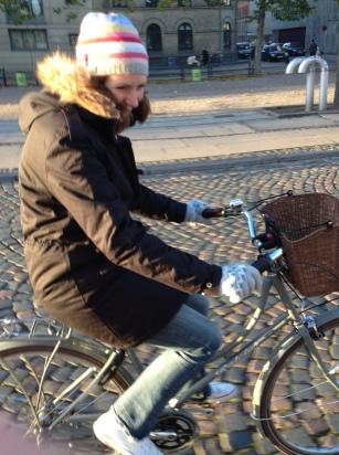 My sister Nikki borrowing Dorte's bike