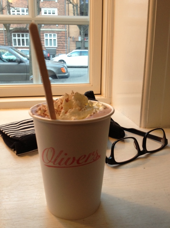 A superb hot chocolate at Oliver's cafe