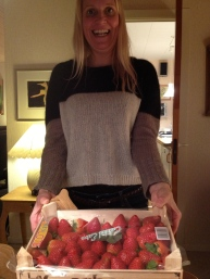 A box full of strawberries, as you can see.