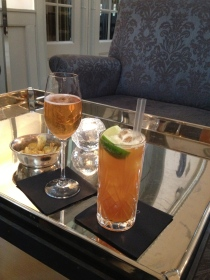 Our first round - Classic Champagne Cocktail and a Dark & Stormy