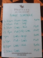 Her schedule. She cares not for this.