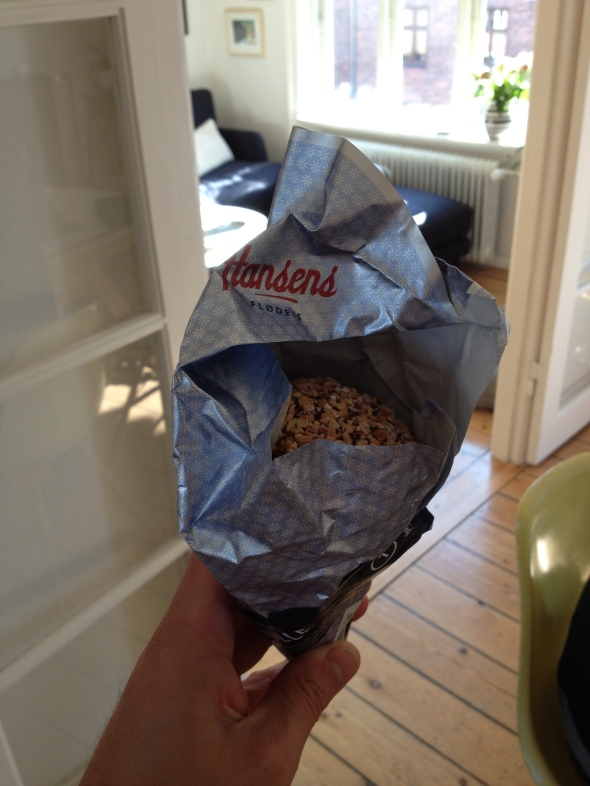 A Hansen's chocolate and hazelnut cone