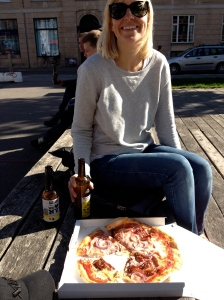 Pizza, beer and wife