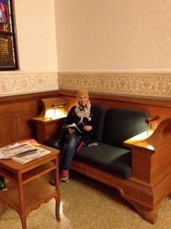 Dorte enjoying a liquorice pipe in parliament