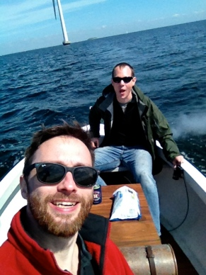 Two fishing fools - me in the foreground and Eric at the 'wheel'
