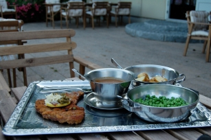 Weiner Schnitzel outside at a local restaurant