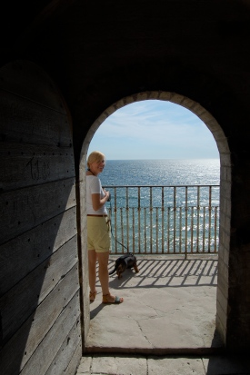 The view from inside Højerup Gamle Kirke, the church at Stevns Klint
